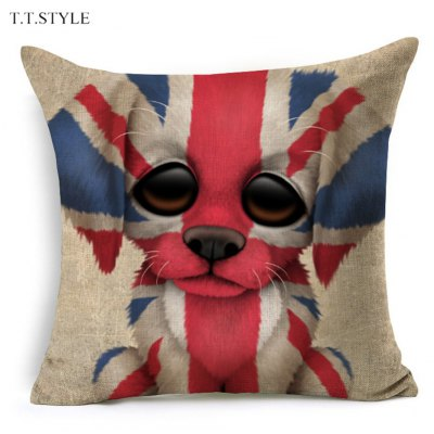 T.T.STYLE Dog with Flag Colored Drawing Pillow Cover