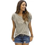 Women Round Collar Short Sleeve Fringed Pure Color T-Shirt