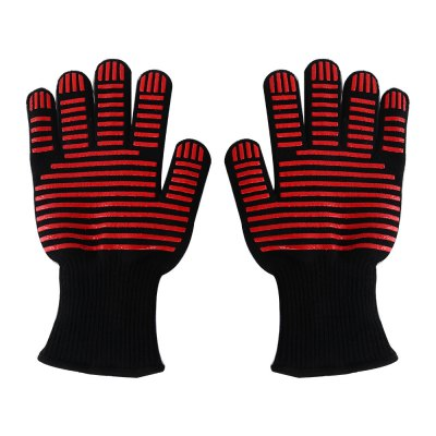 Pair of Anti-skidding Oven Mitts Heat-resistant Safe Gloves