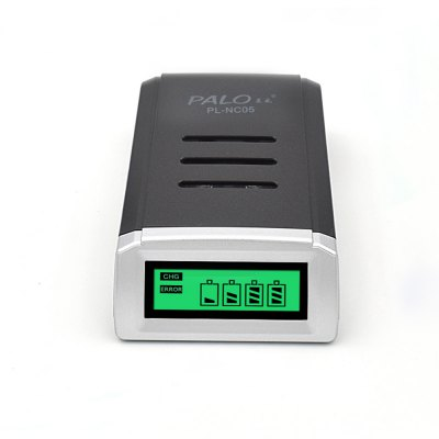Palo NC05 LCD Battery ChargerChargers<br>Palo NC05 LCD Battery Charger<br><br>Charging Cell Qty: 4<br>Charging Cell Type: Ni-MH, NiCd<br>Compatible: AA, AAA<br>Indicator: The light will turn off after fully charged<br>Input Voltage: AC 100~240V 50/60HZ<br>LCD Screen: Yes<br>Model: NC05<br>Package Contents: 1 x NC05 LCD Smart Charger for AA / AAA NiCd NiMh Rechargeable Battery with 4 Slots, 1 x Charging Cable, 1 x Bilingual User Manual in English and Chinese<br>Package size (L x W x H): 13.00 x 8.00 x 5.00 cm / 5.12 x 3.15 x 1.97 inches<br>Package weight: 0.1710 kg<br>Plug: EU adapter,US adapter<br>Product weight: 0.0960 kg<br>Short Circuit Protection: Yes<br>Type: Charger