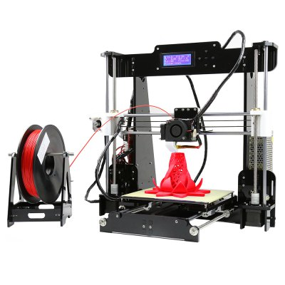 Anet A8 Desktop 3D Printer Prusa i3 DIY Kit3D Printers, 3D Printer Kits<br>Anet A8 Desktop 3D Printer Prusa i3 DIY Kit<br><br>Brand: Anet<br>Certificate: EMC,FCC,LVD,RoHs<br>Engraving Area: 220 x 220 x 240mm<br>File format: G-code, OBJ, STL<br>Frame material: Acrylic plate<br>Host computer software: Cura,Repetier-Host<br>Layer thickness: 0.1-0.3mm<br>LCD Screen: Yes<br>Material diameter: 1.75mm<br>Memory card offline print: SD card<br>Model: A8<br>Nozzle diameter: 0.4mm<br>Nozzle quantity: Single<br>Package size: 51.00 x 34.50 x 21.50 cm / 20.08 x 13.58 x 8.46 inches<br>Package weight: 9.0000 kg<br>Packing Contents: 1 x A8 3D Desktop Acrylic LCD Screen Printer Prusa i3 DIY High Accuracy Self Assembly, 1 x Pack of Accessories<br>Packing Type: unassembled packing<br>Platform board: Aluminum Base<br>Print speed: 100mm / s<br>Product weight: 8.5000 kg<br>Supporting material: Wood, ABS, PP, Luminescent, Nylon PVA, PLA<br>Type: DIY<br>Voltage: 12V<br>XY-axis positioning accuracy: 0.012mm<br>Z-axis positioning accuracy: 0.004mm