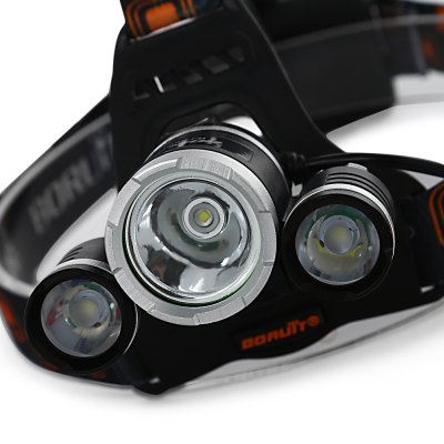BORUiT Outdoor Lighting Three-headed Rechargeable Miner LampHeadlights<br>BORUiT Outdoor Lighting Three-headed Rechargeable Miner Lamp<br><br>Battery Type: Lithium Ion<br>Beam Angle: 180°<br>Body Color: Black<br>Certification: CCC<br>Emitting color: White<br>Light Source: LED<br>Model of LED Beads: T6<br>Package Contents: 1 x Head Lamp<br>Package Size(L x W x H): 11.50 x 11.00 x 9.70 cm / 4.53 x 4.33 x 3.82 inches<br>Package weight: 0.2510 kg<br>Product weight: 0.1860 kg<br>Switch Mode: SOS, High/Middle/Low<br>Waterproof: No<br>Wattage: 30W