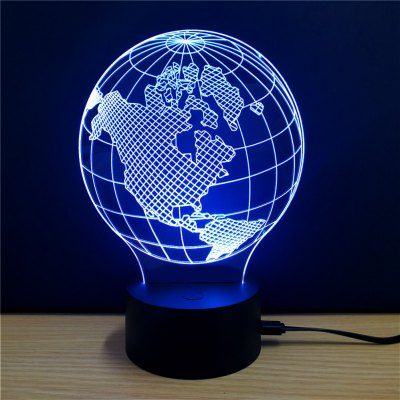 3D Colorful Earth Model Table LampNight Lights<br>3D Colorful Earth Model Table Lamp<br><br>Is Batteries Included: No<br>Is Batteries Required: No<br>Is Bulbs Included: No<br>Light Source: Fluorescent<br>Package Contents: 1 x Lamp, 1 x Acrylic Plate, 1 x USB Line, 1 x English Manual<br>Package Size(L x W x H): 24.00 x 17.10 x 4.90 cm / 9.45 x 6.73 x 1.93 inches<br>Package weight: 0.2890 kg<br>Product weight: 0.1340 kg<br>Type: Lamp<br>Wattage: 0-5W