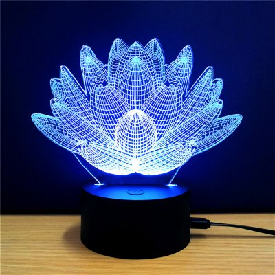 3D Colorful Lotus Model Table LampNight Lights<br>3D Colorful Lotus Model Table Lamp<br><br>Is Batteries Included: No<br>Is Batteries Required: No<br>Is Bulbs Included: No<br>Light Source: Fluorescent<br>Package Contents: 1 x Lamp, 1 x Acrylic Plate, 1 x USB Line, 1 x English Manual<br>Package Size(L x W x H): 24.00 x 17.10 x 4.90 cm / 9.45 x 6.73 x 1.93 inches<br>Package weight: 0.2580 kg<br>Product weight: 0.1030 kg<br>Type: Lamp<br>Wattage: 0-5W