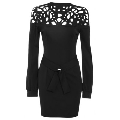 Stylish Round Collar Latern Sleeve Color Block Lace Work Bodycon Women Dress