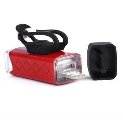 USB Charging Bike Front FlashlightBike Lights<br>USB Charging Bike Front Flashlight<br><br>Mounting Placement: Frame,Handlebar,Seatpost<br>Package Contents: 1 x Bicycle Light, 1 x Silicone Belt, 1 x English Manual<br>Package Size(L x W x H): 8.00 x 4.80 x 11.00 cm / 3.15 x 1.89 x 4.33 inches<br>Package weight: 0.1280 kg<br>Power Supply: Battery<br>Product Size(L x W x H): 8.10 x 3.00 x 2.20 cm / 3.19 x 1.18 x 0.87 inches<br>Product weight: 0.0720 kg