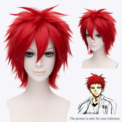 Mcoser Neat Bang Short Straight Wig Cosplay for Akashi Seijuro mcoser neat bang straight short bunches anime wig