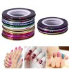 cheap 10 Color Manicure Jewelry Line Painted Radium Gummed Nail Stickers