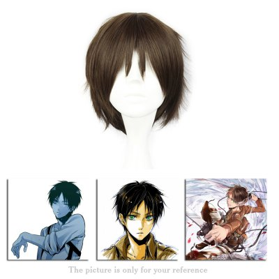 Mcoser Shaggy Short Straight Middle Bang Layered Anime Wig mcoser neat bang straight short bunches anime wig