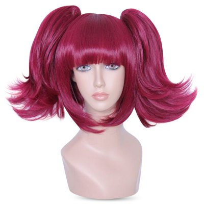 Mcoser Neat Bang Straight Short Bunches Anime Wig mcoser neat bang straight short bunches anime wig