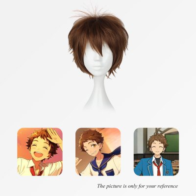 Mcoser Shaggy Middle Bang Short Straight Layered Anime Wig mcoser neat bang straight short bunches anime wig