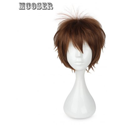 Mcoser Fluffy Centre Parting Short Straight Layered Anime Wig