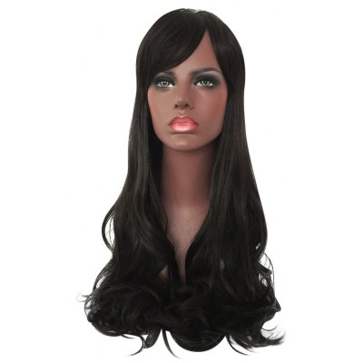 Women Long Side Bang Curly Synthetic Wig