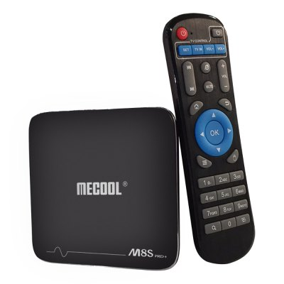 MECOOL M8S Pro+ TV Box Amlogic S905X Android 7.1TV Box<br>MECOOL M8S Pro+ TV Box Amlogic S905X Android 7.1<br><br>Audio format: HD, AAC, MP3, TrueHD, WAV, OGG, WMA, FLAC, DDP, APE<br>Bluetooth: Unsupport<br>Brand: MECOOL<br>Core: 2.0GHz<br>CPU: Amlogic S905X<br>Decoder Format: Xvid/DivX3/4/5/6, RM/RMVB, RealVideo8/9/10, AVS, H.264, H.265<br>External Subtitle Supported: Yes<br>GPU: Mali-450<br>HDMI Version: 2.0<br>Interface: DC 5V, USB2.0, TF card, HDMI, Ethernet, 3.5mm Audio<br>Language: Multi-language<br>Max. Extended Capacity: TF card up to 32GB (not included)<br>Model: M8S Pro+<br>Package Contents: 1 x TV Box, 1 x IR Remote Control, 1 x Charger Adapter, 1 x HDMI Cable, 1 x English User Manual<br>Package size (L x W x H): 17.90 x 11.00 x 6.50 cm / 7.05 x 4.33 x 2.56 inches<br>Package weight: 0.4200 kg<br>Photo Format: TIFF, GIF, BMP, PNG, JPEG<br>Power Adapter Input: 100-240V / 50-60Hz<br>Power Supply: Charge Adapter<br>Power Type: External Power Adapter Mode<br>Processor: S905X<br>Product size (L x W x H): 10.20 x 10.20 x 2.10 cm / 4.02 x 4.02 x 0.83 inches<br>Product weight: 0.1100 kg<br>RAM: 2G<br>Remote Controller Battery: 2 x AAA battery ( not included )<br>RJ45 Port Speed: 10 / 100Mbps<br>ROM: 16G<br>System: Android 7.1<br>System Bit: 64Bit<br>Type: TV Box<br>Video format: 1080P, RM, 4K x 2K, ASF, AVI, VOB, VP9 Profile-2, WMV, RMVB, MPG, MPEG, MKV, ISO, H.265, H.264, FLV, MOV, DAT, AVS, TS<br>WIFI: 802.11b/g/n