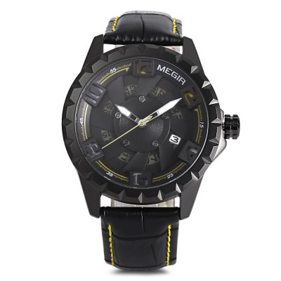 MEGIR ML1074 Men Quartz Calendar WatchMens Watches<br>MEGIR ML1074 Men Quartz Calendar Watch<br><br>Band Length: 8.23 inch<br>Band Material Type: Leather<br>Band Width: 20mm<br>Case material: Alloy<br>Case Shape: Round<br>Case Thickness: 0.47 inch<br>Clasp type: Pin Buckle<br>Dial Diameter: 1.89 inch<br>Dial Display: Analog<br>Dial Window Material Type: Hardlex<br>Feature: Luminous, Date<br>Gender: Men<br>Movement: Quartz<br>Package Contents: 1 x Watch<br>Package Size(L x W x H): 7.50 x 11.80 x 6.80 cm / 2.95 x 4.65 x 2.68 inches<br>Package weight: 0.2040 kg<br>Product Size(L x W x H): 26.00 x 5.10 x 1.20 cm / 10.24 x 2.01 x 0.47 inches<br>Product weight: 0.0690 kg<br>Style: Business<br>Water Resistance Depth: 30m