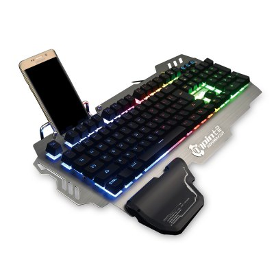 7pin PK900 Gaming KeyboardKeyboards<br>7pin PK900 Gaming Keyboard<br><br>Anti-ghosting Number: all-key<br>Backlight Type: RGB Light<br>Bluetooth Version: Not Supported<br>Brand: 7pin<br>Cable Length (m): 1.8m<br>Connection: Wired<br>Interface: No<br>Key Number: 104<br>Keyboard Lifespan ( times): 20 million<br>Keyboard Switch Type: Blue Switch<br>Keyboard Type: Membrane Keyboards<br>Material: ABS, Aluminum Alloy<br>Model: PK900<br>Package Contents: 1 x 7pin PK900 Gaming Keyboard, 1 x Wrist Rest, 1 x Bilingual User Manual in English and Chinese<br>Package size (L x W x H): 55.00 x 22.80 x 5.50 cm / 21.65 x 8.98 x 2.17 inches<br>Package weight: 1.6250 kg<br>Product size (L x W x H): 49.00 x 25.50 x 4.50 cm / 19.29 x 10.04 x 1.77 inches<br>Product weight: 1.3500 kg<br>Response Speed: 1ms<br>System support: Windows, Mac OS, Linux<br>Type: Keyboard