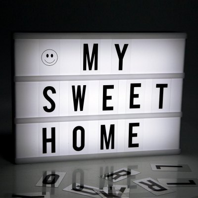 LED DIY Letter Combination Light BoxNight Lights<br>LED DIY Letter Combination Light Box<br><br>Is Batteries Included: No<br>Is Batteries Required: Yes<br>Is Bulbs Included: Yes<br>Light Source: LED Bulbs<br>Package Contents: 1 x Night Light<br>Package Size(L x W x H): 31.90 x 22.80 x 5.30 cm / 12.56 x 8.98 x 2.09 inches<br>Package weight: 0.7210 kg<br>Product Size(L x W x H): 29.90 x 22.00 x 4.10 cm / 11.77 x 8.66 x 1.61 inches<br>Product weight: 0.4300 kg<br>Type: Lamp, Atmosphere, Night Light<br>Wattage: 0-5W