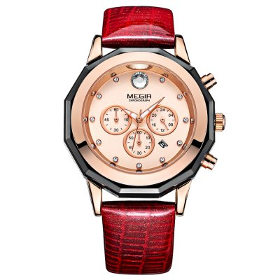 MEGIR ML2042L Women Quartz WatchWomens Watches<br>MEGIR ML2042L Women Quartz Watch<br><br>Band Length: 7.56 inch<br>Band Material Type: Leather<br>Band Width: 20mm<br>Case material: Alloy<br>Case Shape: Round<br>Case Thickness: 0.47 inch<br>Clasp type: Pin Buckle<br>Dial Diameter: 2.01 inch<br>Dial Display: Analog<br>Dial Window Material Type: Mineral Glass Mirror<br>Feature: Luminous, Day, Date, Chronograph<br>Gender: Women<br>Movement: Quartz<br>Package Contents: 1 x Watch<br>Package Size(L x W x H): 7.50 x 11.80 x 6.80 cm / 2.95 x 4.65 x 2.68 inches<br>Package weight: 0.2020 kg<br>Product Size(L x W x H): 25.00 x 5.30 x 1.20 cm / 9.84 x 2.09 x 0.47 inches<br>Product weight: 0.0750 kg<br>Style: Dress<br>Water Resistance Depth: 30m