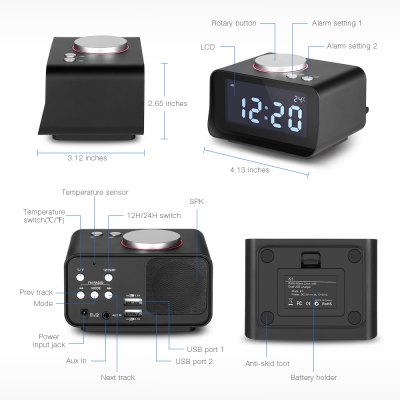 Multi-function Alarm Clock with USB for iPhoneClocks<br>Multi-function Alarm Clock with USB for iPhone<br><br>Package Contents: 1 x Alarm Clock, 1 x Power Cable, 1 x Audio Cable, 1 x Bilingual User Manual in English and Chinese<br>Package Size(L x W x H): 18.00 x 15.00 x 9.00 cm / 7.09 x 5.91 x 3.54 inches<br>Package weight: 0.4010 kg<br>Product Size(L x W x H): 10.50 x 7.92 x 6.72 cm / 4.13 x 3.12 x 2.65 inches<br>Product weight: 0.1930 kg