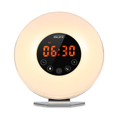 Inlife Wake-up Light RGB Color Bedside Mood LampClocks<br>Inlife Wake-up Light RGB Color Bedside Mood Lamp<br><br>Package Contents: 1 x Wake-up Light, 1 x English User Manual, 1 x Plug, 1 x USB Cable<br>Package Size(L x W x H): 20.00 x 18.00 x 10.50 cm / 7.87 x 7.09 x 4.13 inches<br>Package weight: 0.6100 kg<br>Product Size(L x W x H): 18.50 x 17.00 x 8.00 cm / 7.28 x 6.69 x 3.15 inches<br>Product weight: 0.3700 kg