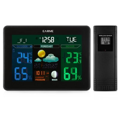 EARME Digital Weather Station Temperature with 2 SensorTemperature Instruments<br>EARME Digital Weather Station Temperature with 2 Sensor<br><br>Package Contents: 1 x Digital Temperature Monitor, 2 x Wireless Sensor, 1 x Adapter, 1 x English User Manual<br>Package Size(L x W x H): 23.00 x 12.50 x 5.50 cm / 9.06 x 4.92 x 2.17 inches<br>Package weight: 0.5730 kg<br>Product weight: 0.3690 kg