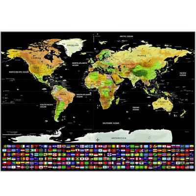 Scratch-off World Map with US States and Country Flags