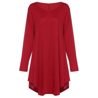 V Neck Long Sleeve Asymmetric Loose Women Dress