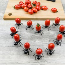 12pcs Creative Ant Style Plastic Safety Fruit Forks for Cake Salad