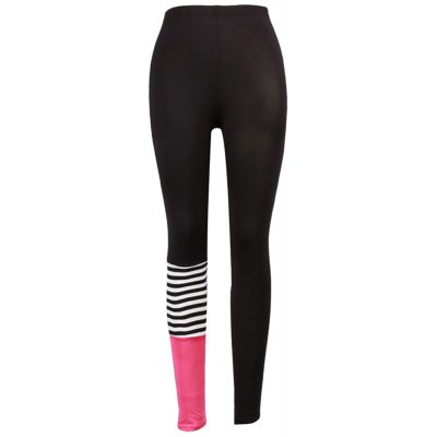 Mid Waist Spliced Color Blocking Stripe Women Yoga Pants