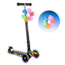KUOKEL Children Folding Flashing PU Wheels 4 Wheel Adjustable Height Handle Kick Scooters with Mini Winnower Black