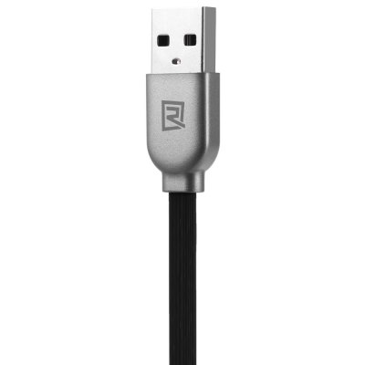 REMAX 2 in 1 8Pin Micro USB Fast Charge Data Sync Flat Cable 1m