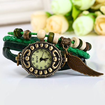 Watch with Wing Pendant Round Dial Leather Band for WomenWomens Watches<br>Watch with Wing Pendant Round Dial Leather Band for Women<br><br>Watches categories: Female table<br>Movement type: Quartz watch<br>Shape of the dial: Round<br>Display type: Pointer<br>Case material: Stainless steel<br>Band material: Leather<br>Clasp type: Buckle<br>The dial thickness: 0.7 cm/0.3 inch<br>The dial diameter: 1.6 cm/0.6 inch<br>Product weight: 0.025 kg<br>Product size (L x W x H) : 21.8 x 2.4 x 0.7 cm/8.6 x 0.6 x 0.3 inches<br>Package contents: 1 x Watch
