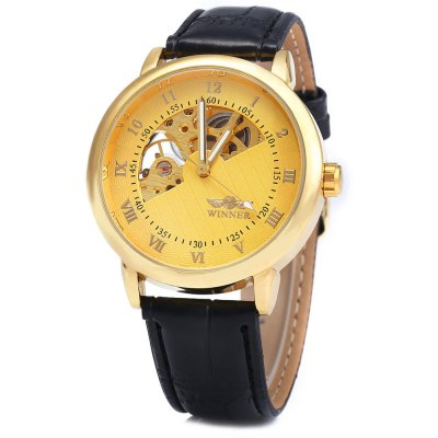 Winner W032 Men Fan-shaped Hollow Mechanical Watch
