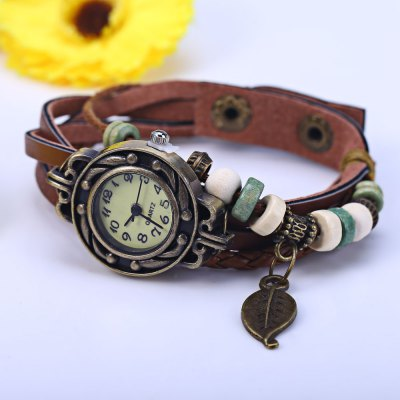 Vintage Ladies Woven Strap Bracelet Quartz WatchWomens Watches<br>Vintage Ladies Woven Strap Bracelet Quartz Watch<br><br>Watches categories: Female table<br>Style: Bracelet<br>Movement type: Quartz watch<br>Shape of the dial: Round<br>Display type: Analog<br>Case material: Alloy<br>Band material: Leather<br>Clasp type: Buckle<br>The dial thickness: 0.7 cm / 0.28 inches<br>The dial diameter: 2.5 cm / 0.98 inches<br>The band width: 1.5 cm / 0.59 inches<br>Product weight: 0.020KG<br>Package weight: 0.080 KG<br>Product size (L x W x H): 21.000 x 2.500 x 0.700 cm / 8.268 x 0.984 x 0.276 inches<br>Package size (L x W x H): 22.000 x 3.500 x 1.700 cm / 8.661 x 1.378 x 0.669 inches<br>Package Contents: 1 x Vintage Ladies Bracelet Quartz Watch