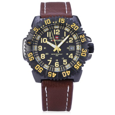 Naviforce 9041 Men Quartz Watch - NaviforceMens Watches<br>Naviforce 9041 Men Quartz Watch<br><br>Brand: Naviforce<br>Watches categories: Male table<br>Watch style: Fashion<br>Movement type: Quartz watch<br>Shape of the dial: Round<br>Display type: Analog<br>Hour formats: 12 Hour<br>Case material: Alloy<br>Band material: Leather<br>Clasp type: Pin buckle<br>Special features: Date<br>Water resistance : 30 meters<br>The dial thickness: 1 cm / 0.39 inches<br>The dial diameter: 4.2 cm / 1.65 inches<br>The band width: 2 cm / 0.79 inches<br>Wearable length: 18 - 22 cm / 7.09 - 8.66 inches<br>Product weight: 0.080 kg<br>Package weight: 0.140 kg<br>Product size (L x W x H): 26.000 x 5.000 x 1.000 cm / 10.236 x 1.969 x 0.394 inches<br>Package size (L x W x H): 27.000 x 6.000 x 2.000 cm / 10.630 x 2.362 x 0.787 inches<br>Package Contents: 1 x Men Watch;  1 x Warranty Card