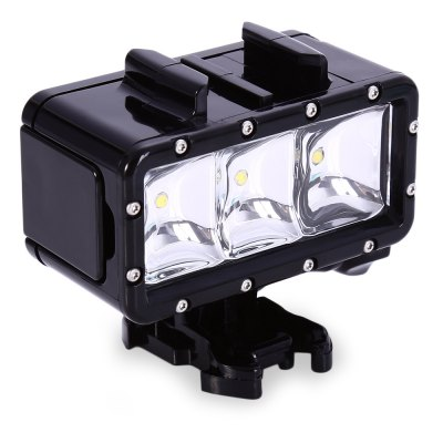 2.8W 300LM Waterproof Video LightOutdoor Lights<br>2.8W 300LM Waterproof Video Light<br><br>Function: Diving<br>Feature: Can be used as headlamp or bicycle light<br>Luminous Flux: 300lm<br>Beads Number: 3<br>Mode: 3( High; Low; SOS)<br>Available Light Color: Warm White<br>Color: Black<br>Product weight: 0.146 kg<br>Package weight: 0.236 kg<br>Product size (L x W x H): 7.200 x 3.700 x 3.900 cm / 2.835 x 1.457 x 1.535 inches<br>Package size (L x W x H): 19.900 x 9.500 x 4.000 cm / 7.835 x 3.740 x 1.575 inches<br>Package Contents: 1 x 2.8W 300LM Flash LED Diving Light Waterproof Video Lamp, 1 x Battery, 1 x Charging Line, 1 x Wrench, 1 x Base, 1 x User Manual in Engliah and Chinese
