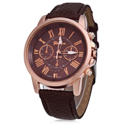 Unisex Leather Band Analog Quartz Watch