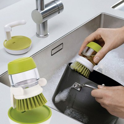 2 in 1 Cleaning Brush Small Detergent CanBrushes<br>2 in 1 Cleaning Brush Small Detergent Can<br><br>Color: Green<br>Material: Plastic<br>Package Contents: 1 x Cleaning Brush<br>Package size (L x W x H): 13.00 x 13.00 x 9.00 cm / 5.12 x 5.12 x 3.54 inches<br>Package weight: 0.2500 kg<br>Product size (L x W x H): 8.80 x 8.90 x 5.70 cm / 3.46 x 3.5 x 2.24 inches<br>Product weight: 0.2090 kg<br>Type: Cleaning Brush