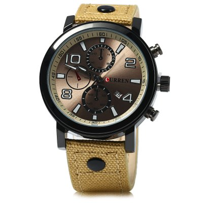 Curren 8199 Men Quartz Watch with Date FunctionMens Watches<br>Curren 8199 Men Quartz Watch with Date Function<br><br>Brand: Curren<br>Watches categories: Male table<br>Watch style: Casual<br>Watch color: Black, Blue, Brown, Yellow, Golden and Blue, Red, Black and Golden<br>Movement type: Quartz watch<br>Shape of the dial: Round<br>Display type: Analog<br>Case material: Stainless Steel<br>Band material: Canvas + Leather<br>Clasp type: Pin buckle<br>Special features: Date,Decorating small sub-dials<br>The dial thickness: 1.0 cm / 0.39 inches<br>The dial diameter: 4.3 cm / 1.69 inches<br>The band width: 2.2 cm / 0.87 inches<br>Wearable length: 17.5 - 22 cm / 6.89 - 8.66 inches<br>Product weight: 0.064 kg<br>Package weight: 0.094 kg<br>Product size (L x W x H): 25.500 x 4.300 x 1.000 cm / 10.039 x 1.693 x 0.394 inches<br>Package size (L x W x H): 26.500 x 5.300 x 2.000 cm / 10.433 x 2.087 x 0.787 inches<br>Package Contents: 1 x Curren 8199 Watch