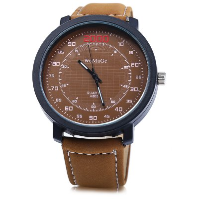 Womage A805 Double Scales Men Quartz Watch Leather Band