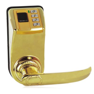 DIY-3398 Fingerprint Door LockDoorbell<br>DIY-3398 Fingerprint Door Lock<br><br>Category: Fingerprint Door Lock<br>Identification Speed : 1S<br>Authentication Methods: Key,Fingerprint,Password<br>Fingerprint Capacity: 120<br>FRR(False Rejection Ratio) : &lt;0.01%<br>FAR(False Acceptance Ratio): &lt;0.0001%<br>Voltage: DC 6V / 9V<br>Color: Gold<br>Material: Metal<br>Product weight: 3.300 kg<br>Package weight: 3.388 kg<br>Product size (L x W x H): 20.000 x 23.000 x 30.000 cm / 7.874 x 9.055 x 11.811 inches<br>Package size (L x W x H): 22.000 x 25.000 x 32.000 cm / 8.661 x 9.843 x 12.598 inches<br>Package Contents: 1 x DIY-3398 Fingerprint Door Lock, 1 x Packing of Accessory