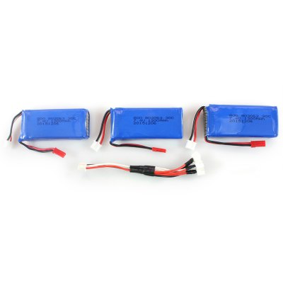 3Pcs 7.4V 1300mAh Battery + Cable Set