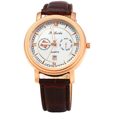 Faleidu 1061 Date Display Male Quartz Watch Leather BandMens Watches<br>Faleidu 1061 Date Display Male Quartz Watch Leather Band<br><br>Brand: Faleidu<br>Watches categories: Male table<br>Watch style: Fashion<br>Watch color: Silver and Black, White and Black, Black and Golden, Brown, Brown and Golden<br>Movement type: Quartz watch<br>Shape of the dial: Round<br>Display type: Analog<br>Case material: Stainless Steel<br>Band material: Leather<br>Clasp type: Pin buckle<br>Special features: Date,Decorating small sub-dials<br>The dial thickness: 1.2 cm / 0.47 inches<br>The dial diameter: 4.1 cm / 1.61 inches<br>The band width: 2.0 cm / 0.79 inches<br>Wearable length: 19 - 23 cm / 7.48 - 9.06 inches<br>Product weight: 0.048 kg<br>Package weight: 0.088 kg<br>Product size (L x W x H): 25.000 x 4.100 x 1.200 cm / 9.843 x 1.614 x 0.472 inches<br>Package size (L x W x H): 26.000 x 5.100 x 2.200 cm / 10.236 x 2.008 x 0.866 inches<br>Package Contents: 1 x Faleidu 1061 Watch