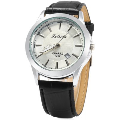 Faleidu 1059 Date Function Leather Band Quartz Watch for Men