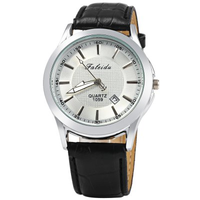 Faleidu 1059 Date Function Leather Band Quartz Watch for MenMens Watches<br>Faleidu 1059 Date Function Leather Band Quartz Watch for Men<br><br>Brand: Faleidu<br>Watches categories: Male table<br>Watch style: Fashion<br>Available color: Brown,Black,White<br>Movement type: Quartz watch<br>Shape of the dial: Round<br>Display type: Analog<br>Case material: Stainless Steel<br>Band material: Leather<br>Clasp type: Pin buckle<br>Special features: Date<br>The dial thickness: 1.0 cm / 0.39 inches<br>The dial diameter: 4.2 cm / .65 inches<br>The band width: 2.0 cm / 0.79 inches<br>Wearable length: 19 - 23 cm / 7.48 - 9.06 inches<br>Product weight: 0.048 kg<br>Package weight: 0.078 kg<br>Product size (L x W x H): 25.000 x 4.200 x 1.000 cm / 9.843 x 1.654 x 0.394 inches<br>Package size (L x W x H): 26.000 x 5.200 x 2.000 cm / 10.236 x 2.047 x 0.787 inches<br>Package Contents: 1 x Faleidu 1059 Watch