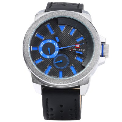 Naviforce 9064 Genuine Leather Band Men Quartz WatchMens Watches<br>Naviforce 9064 Genuine Leather Band Men Quartz Watch<br><br>Brand: Naviforce<br>Watches categories: Male table<br>Watch style: Business<br>Watch color: Brown, Blue, Black, Orange, Silver and Blue, Silver and Brown, Silver and Orange, Silver and Black<br>Movement type: Quartz watch<br>Shape of the dial: Round<br>Display type: Analog<br>Case material: Stainless Steel<br>Band material: Genuine Leather<br>Clasp type: Pin buckle<br>Special features: Working sub-dial,Date,Luminous<br>Water resistance : 30 meters<br>The dial thickness: 1.0 cm / 0.39 inches<br>The dial diameter: 5.5 cm / 2.16 inches<br>The band width: 2.2 cm / 0.87 inches<br>Wearable length: 18 - 22.5 cm / 7.09 - 8.86 inches<br>Product weight: 0.103 kg<br>Package weight: 0.133 kg<br>Product size (L x W x H): 27.000 x 5.500 x 1.000 cm / 10.630 x 2.165 x 0.394 inches<br>Package size (L x W x H): 28.000 x 6.500 x 2.000 cm / 11.024 x 2.559 x 0.787 inches<br>Package Contents: 1 x Naviforce 9064 Watch