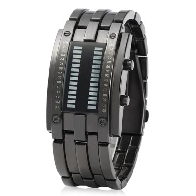 Date Binary Digital LED Bracelet Watch for Men with Two Lines LED DisplayCouples Watches<br>Date Binary Digital LED Bracelet Watch for Men with Two Lines LED Display<br><br>Watches categories: Male table<br>Watch style: LED<br>Style elements: LED<br>Available Color: Black,Silver<br>Movement type: Light table<br>Shape of the dial: Rectangle<br>Display type: Digital<br>Case material: Stainless Steel<br>Case color: Black,Silver<br>Band material: Alloys<br>Clasp type: Folding clasp with safety<br>Special features: Date,Light,Month<br>Water resistance : 30 meters<br>The dial thickness: 1.4 cm / 0.55 inches<br>The dial diameter: 3 cm / 1.18 inches<br>The band width: 2.3 cm / 0.91 inches<br>Product weight: 0.1440 kg<br>Package weight: 0.2140 kg<br>Product size (L x W x H): 26.40 x 3.00 x 1.40 cm / 10.39 x 1.18 x 0.55 inches<br>Package size (L x W x H): 28.40 x 5.00 x 3.40 cm / 11.18 x 1.97 x 1.34 inches<br>Package Contents: 1 x Male Binary LED Watch