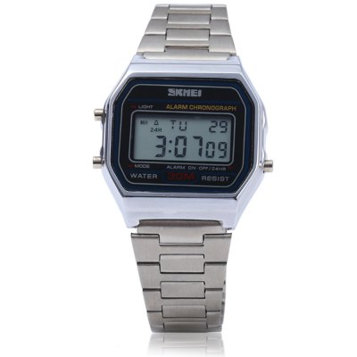 Skmei 1123 Day Alarm Stopwatch Function Men Digital WatchMens Watches<br>Skmei 1123 Day Alarm Stopwatch Function Men Digital Watch<br><br>Brand: Skmei<br>Watches categories: Male table<br>Watch style: Business<br>Style elements: Stainless Steel<br>Available color: Gold,Silver<br>Movement type: Digital watch<br>Shape of the dial: Rectangle<br>Display type: Digital<br>Case material: Stainless Steel<br>Band material: Stainless Steel<br>Clasp type: Hook buckle<br>Special features: Day,Date,Stopwatch,Alarm Clock<br>Water resistance : 30 meters<br>The dial thickness: 0.7 cm / 0.28 inches<br>The dial diameter: 3.2 cm / 1.26 inches<br>The band width: 1.5 cm / 0.59 inches<br>Product weight: 0.056 kg<br>Package weight: 0.086 kg<br>Product size (L x W x H): 22.500 x 3.200 x 0.700 cm / 8.858 x 1.260 x 0.276 inches<br>Package size (L x W x H): 23.500 x 4.200 x 1.700 cm / 9.252 x 1.654 x 0.669 inches<br>Package Contents: 1 x Skmei 1123 Watch