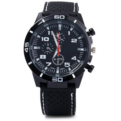 Military Sports Quartz Watch for MenMens Watches<br>Military Sports Quartz Watch for Men<br><br>Movement type: Quartz watch<br>Shape of the dial: Round<br>Display type: Analog<br>Case material: Alloy<br>Band material: Silicone<br>Clasp type: Pin buckle<br>Special features: Decorating small sub-dials<br>The dial thickness: 0.8 cm / 0.31 inches<br>The dial diameter: 4.2 cm / 1.65 inches<br>The band width: 2.2 cm / 0.87 inches<br>Wearable length: 19 - 23 cm / 7.48 - 9.06 inches<br>Product weight: 0.061KG<br>Package weight: 0.121 KG<br>Product size (L x W x H): 25.500 x 4.200 x 0.800 cm / 10.039 x 1.654 x 0.315 inches<br>Package size (L x W x H): 26.500 x 5.200 x 1.800 cm / 10.433 x 2.047 x 0.709 inches<br>Package Contents: 1 x Male Silicone Sports Quartz Watch