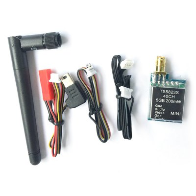 TS5823S Multirotor Accessory 40CH Transmitter 5.8GHz 200MWReceiver &amp; Transmitter<br>TS5823S Multirotor Accessory 40CH Transmitter 5.8GHz 200MW<br><br>FPV Equipments: Transmitter<br>Package Contents: 1 x Transmitter, 1 x Antenna, 3 x Connecting Cable, 1 x English Manual<br>Package size (L x W x H): 13.50 x 8.50 x 4.50 cm / 5.31 x 3.35 x 1.77 inches<br>Package weight: 0.080 kg